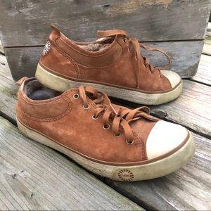 UGG brown suede shoes w/ sheepskin women's 8
